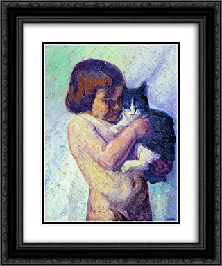 Child with cat 20x24 Black or Gold Ornate Framed and Double Matted Art Print by Emmanuel Zairis