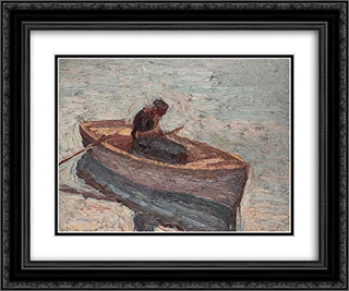 Figure in a rowing boat 24x20 Black or Gold Ornate Framed and Double Matted Art Print by Emmanuel Zairis