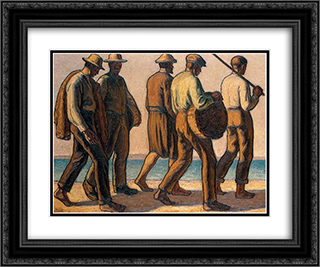 Fishermen 24x20 Black or Gold Ornate Framed and Double Matted Art Print by Emmanuel Zairis