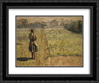 Girl in the vegetable garden 24x20 Black or Gold Ornate Framed and Double Matted Art Print by Emmanuel Zairis