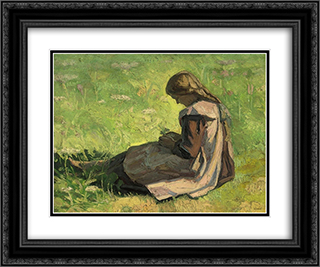 Girl sitting in the grass 24x20 Black or Gold Ornate Framed and Double Matted Art Print by Emmanuel Zairis
