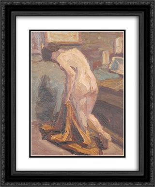 Nude Model 20x24 Black or Gold Ornate Framed and Double Matted Art Print by Emmanuel Zairis