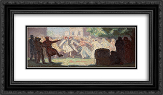 The Carnival in Athens 24x14 Black or Gold Ornate Framed and Double Matted Art Print by Emmanuel Zairis