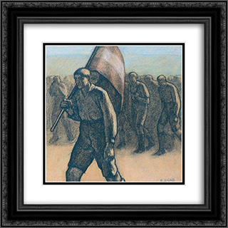 The Demonstration 20x20 Black or Gold Ornate Framed and Double Matted Art Print by Emmanuel Zairis