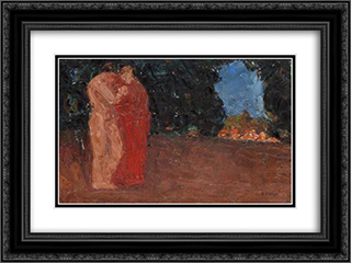 The lovers 24x18 Black or Gold Ornate Framed and Double Matted Art Print by Emmanuel Zairis