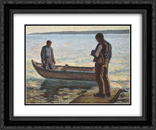 Two fishermen 24x20 Black or Gold Ornate Framed and Double Matted Art Print by Emmanuel Zairis