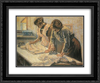 Women ironing 24x20 Black or Gold Ornate Framed and Double Matted Art Print by Emmanuel Zairis