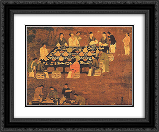An Elegant Party (detail) 24x20 Black or Gold Ornate Framed and Double Matted Art Print by Emperor Huizong