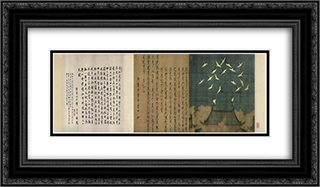 Auspicious Cranes 24x14 Black or Gold Ornate Framed and Double Matted Art Print by Emperor Huizong