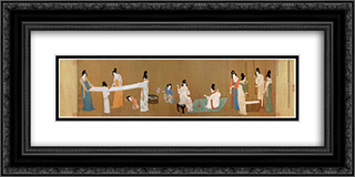 Court ladies preparing newly woven silk 24x12 Black or Gold Ornate Framed and Double Matted Art Print by Emperor Huizong