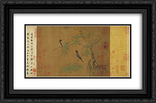 Finches and Bamboo 24x16 Black or Gold Ornate Framed and Double Matted Art Print by Emperor Huizong