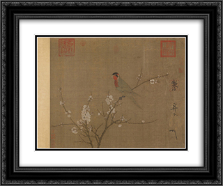 Five-colored parakeet on a blossoming apricot tree 24x20 Black or Gold Ornate Framed and Double Matted Art Print by Emperor Huizong