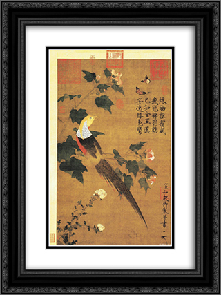 Golden Pheasant and Cotton Rose Flowers 18x24 Black or Gold Ornate Framed and Double Matted Art Print by Emperor Huizong