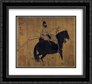 Groom leading two horses 22x20 Black or Gold Ornate Framed and Double Matted Art Print by Emperor Huizong