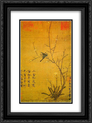 Plum and birds 18x24 Black or Gold Ornate Framed and Double Matted Art Print by Emperor Huizong