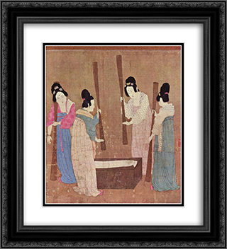 Women preparing silk (after Zhang Xuan) 20x22 Black or Gold Ornate Framed and Double Matted Art Print by Emperor Huizong