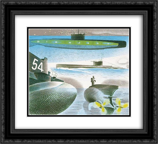 Different aspects of submarines 22x20 Black or Gold Ornate Framed and Double Matted Art Print by Eric Ravilious