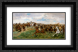1807, Friedland 24x16 Black or Gold Ornate Framed and Double Matted Art Print by Ernest Meissonier