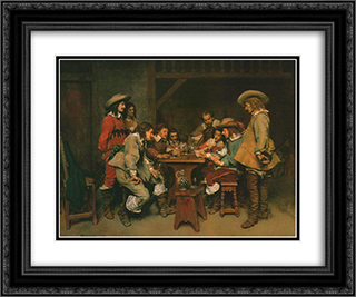 A Game of Piquet 24x20 Black or Gold Ornate Framed and Double Matted Art Print by Ernest Meissonier