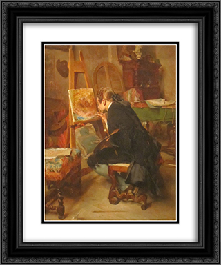 A Painter 20x24 Black or Gold Ornate Framed and Double Matted Art Print by Ernest Meissonier