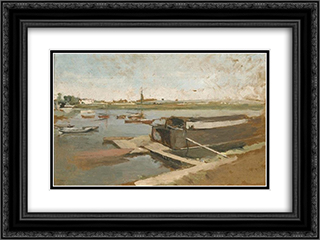 Bords de la Seine a Poissy 24x18 Black or Gold Ornate Framed and Double Matted Art Print by Ernest Meissonier