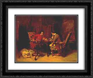 Chess Players 24x20 Black or Gold Ornate Framed and Double Matted Art Print by Ernest Meissonier