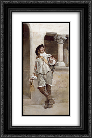 Courtyard of the Artist's Studio 16x24 Black or Gold Ornate Framed and Double Matted Art Print by Ernest Meissonier