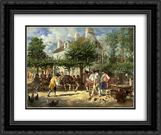 Dimanche a Poissy 24x20 Black or Gold Ornate Framed and Double Matted Art Print by Ernest Meissonier