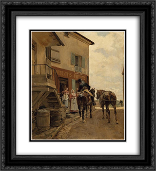 L'auberge du Pont de Poissy 20x22 Black or Gold Ornate Framed and Double Matted Art Print by Ernest Meissonier
