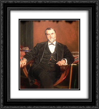 Leland Stanford 20x22 Black or Gold Ornate Framed and Double Matted Art Print by Ernest Meissonier