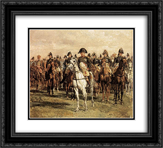 Napoleon and his Staff 22x20 Black or Gold Ornate Framed and Double Matted Art Print by Ernest Meissonier