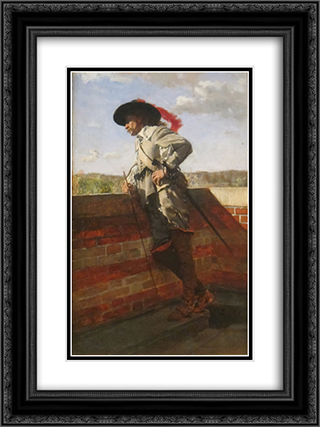 On a Terrace 18x24 Black or Gold Ornate Framed and Double Matted Art Print by Ernest Meissonier