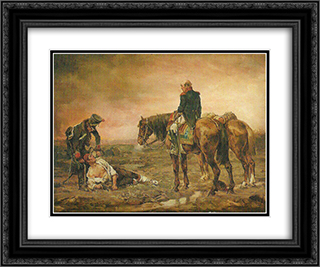 Relief after the Battle 24x20 Black or Gold Ornate Framed and Double Matted Art Print by Ernest Meissonier