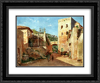 Street Scene near Antibes 24x20 Black or Gold Ornate Framed and Double Matted Art Print by Ernest Meissonier