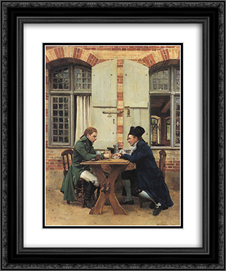 The Card Players 20x24 Black or Gold Ornate Framed and Double Matted Art Print by Ernest Meissonier