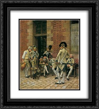 The Portrait of a Sergeant 20x22 Black or Gold Ornate Framed and Double Matted Art Print by Ernest Meissonier
