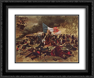The siege of Paris in 1870 24x20 Black or Gold Ornate Framed and Double Matted Art Print by Ernest Meissonier