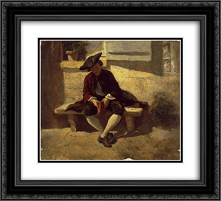 Young Man with a Book 22x20 Black or Gold Ornate Framed and Double Matted Art Print by Ernest Meissonier