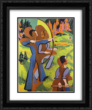 Archers 20x24 Black or Gold Ornate Framed and Double Matted Art Print by Ernst Ludwig Kirchner