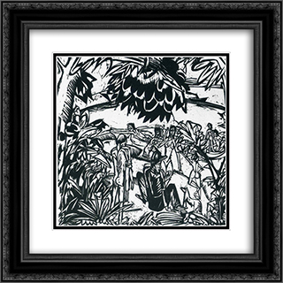 Bathers under Trees 20x20 Black or Gold Ornate Framed and Double Matted Art Print by Ernst Ludwig Kirchner