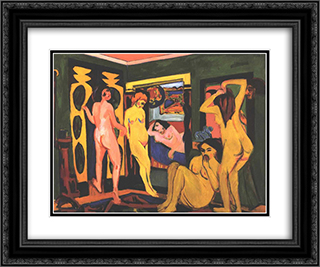 Bathing Women in a Room 24x20 Black or Gold Ornate Framed and Double Matted Art Print by Ernst Ludwig Kirchner