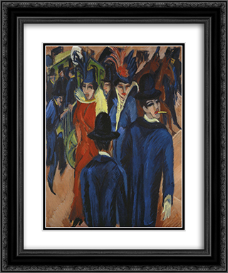 Berlin Street Scene 20x24 Black or Gold Ornate Framed and Double Matted Art Print by Ernst Ludwig Kirchner