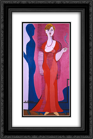 Blond Woman in a Red Dress, Portrait of Elisabeth Hembus 16x24 Black or Gold Ornate Framed and Double Matted Art Print by Ernst Ludwig Kirchner