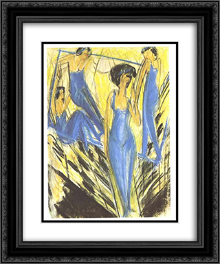 Blue Dressed Artists 20x24 Black or Gold Ornate Framed and Double Matted Art Print by Ernst Ludwig Kirchner