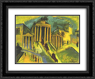 Brandenburg Gate in Berlin 24x20 Black or Gold Ornate Framed and Double Matted Art Print by Ernst Ludwig Kirchner