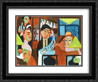Cafe in Davos 24x20 Black or Gold Ornate Framed and Double Matted Art Print by Ernst Ludwig Kirchner