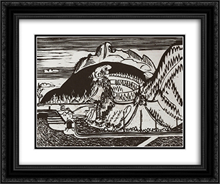 Clavadel Mountain Seen from Frauenkirch 24x20 Black or Gold Ornate Framed and Double Matted Art Print by Ernst Ludwig Kirchner