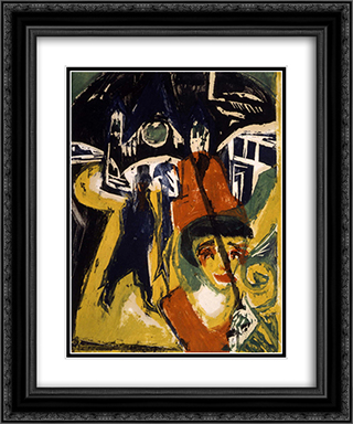 Cocotte on the Road 20x24 Black or Gold Ornate Framed and Double Matted Art Print by Ernst Ludwig Kirchner