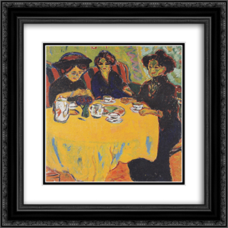 Coffee Drinking Women 20x20 Black or Gold Ornate Framed and Double Matted Art Print by Ernst Ludwig Kirchner