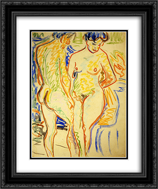 Couple 20x24 Black or Gold Ornate Framed and Double Matted Art Print by Ernst Ludwig Kirchner